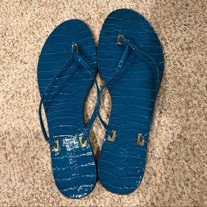Ralph Lauren Blue Snakeskin Flip Flops